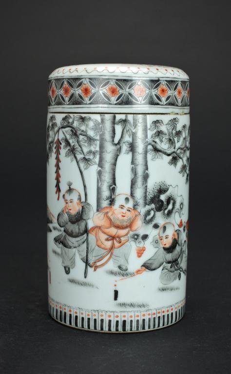 CHINESE CYLINDRICAL LIDDED FIGURAL JAR