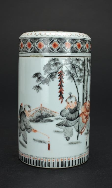 CHINESE CYLINDRICAL LIDDED FIGURAL JAR - 2