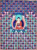 ANTIQUE 19TH C TIBETAN PAINTING ON SILK THANGKA
