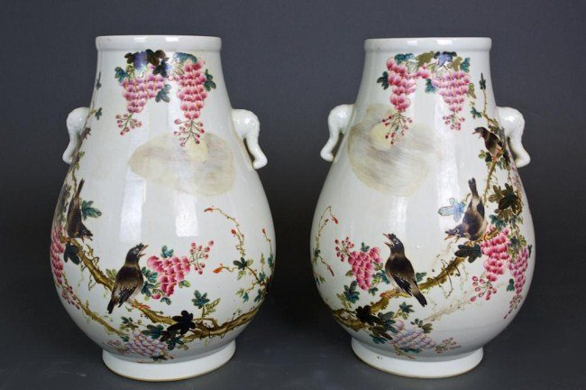 PAIR OF CHINESE FAMILLE ROSE VASES WITH BIRD MOTIF