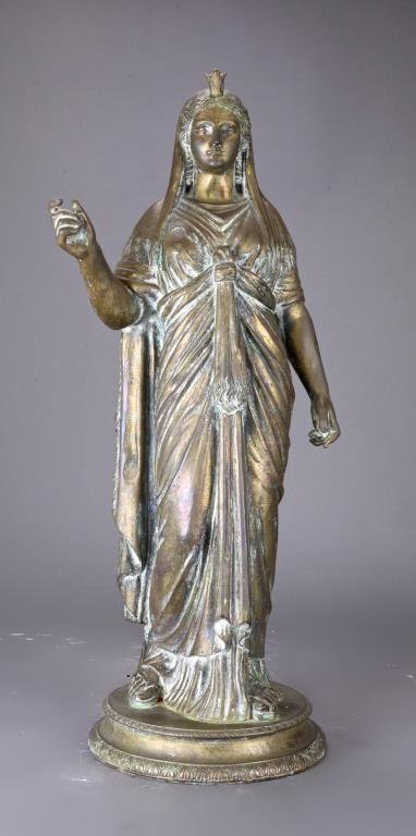 TALL EUROPEAN BRONZE STATUE OF A GODDESS