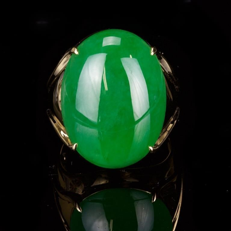 HUGE IMPERIAL GREEN JADEITE GENTLEMAN'S RING