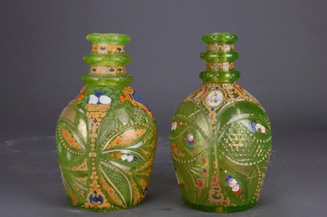 PAIR OF LIGHT GREEN BOHEMIAN CUT GLASS DECANTERS