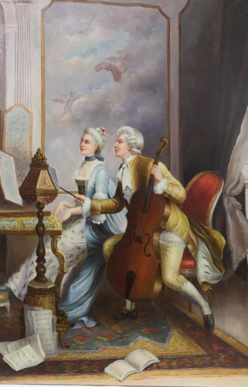 OIL PAINTING ON CANVAS OF TWO MUSICIANS