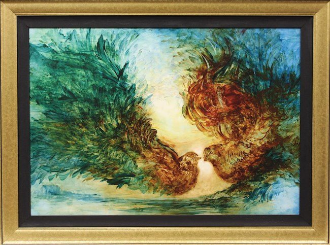 FRAMED GICLEE ON CANVAS OF TWO BIRDS