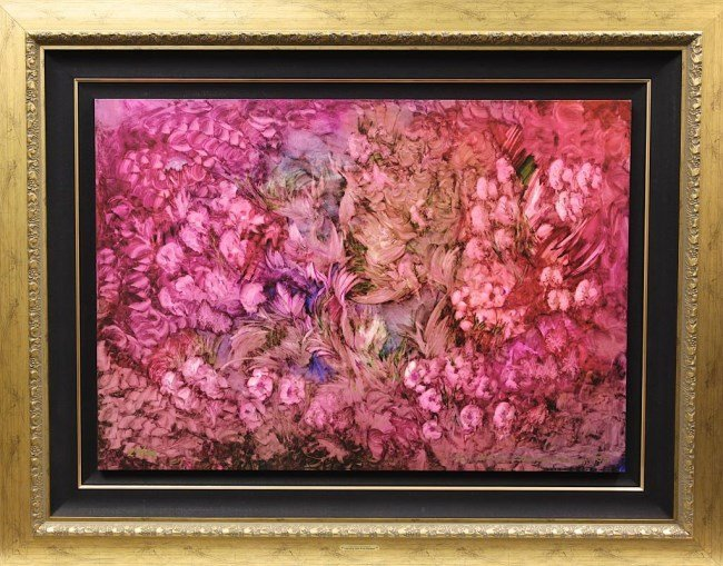 "FRAMED GICLEE ON CANVAS ""RHAPSODY IN PINK & BLUE"""