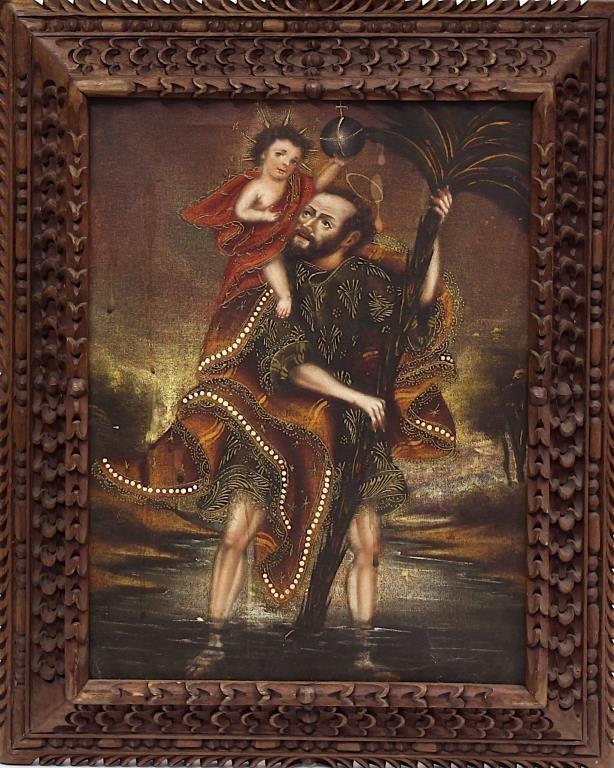 FRAMED OIL ON CANVAS PAINTING OF RELIGIOUS SCENE