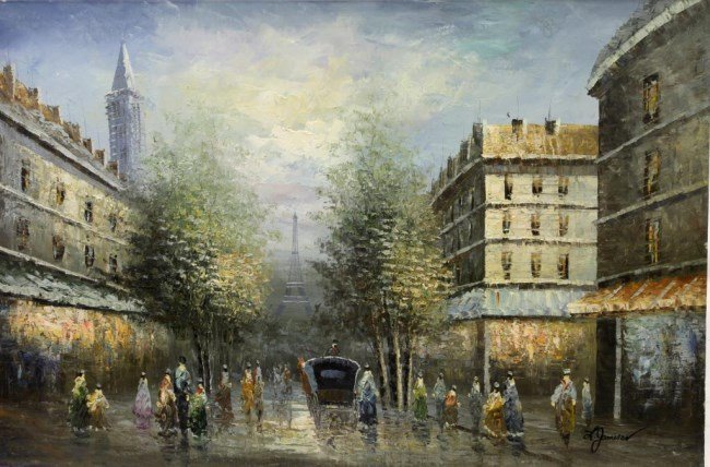 OIL PAINTING ON CANVAS OF A STREET SCENE