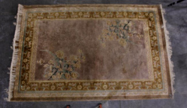 CAMEL COLOR CHINESE RUG WITH FLOWERS
