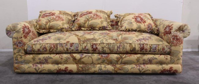 LARGE YELLOW SOFA WITH FLORAL MOTIF