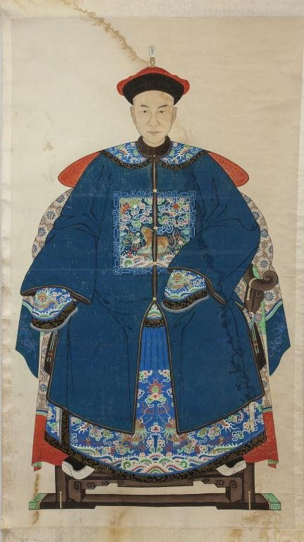 SCROLL PAINTING ON PAPER OF A CHINESE GENERAL