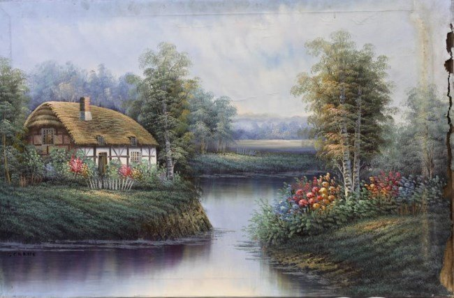 OIL PAINTING ON CANVAS OF A HOUSE FRONT