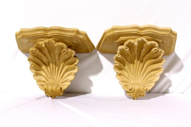 PAIR OF EUROPEAN SEASHELL WALL SHELVES