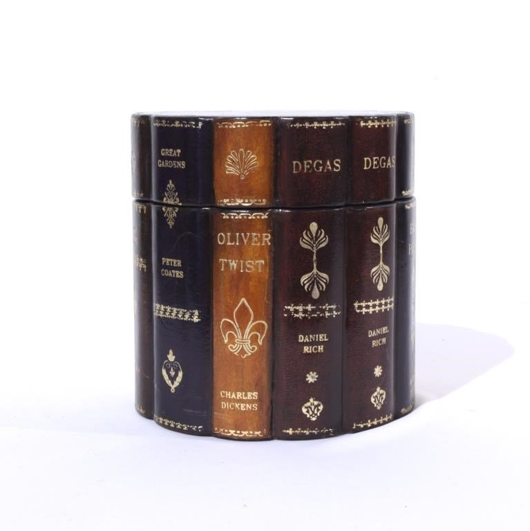 FAUX BOOK ROUND LEATHER BOX