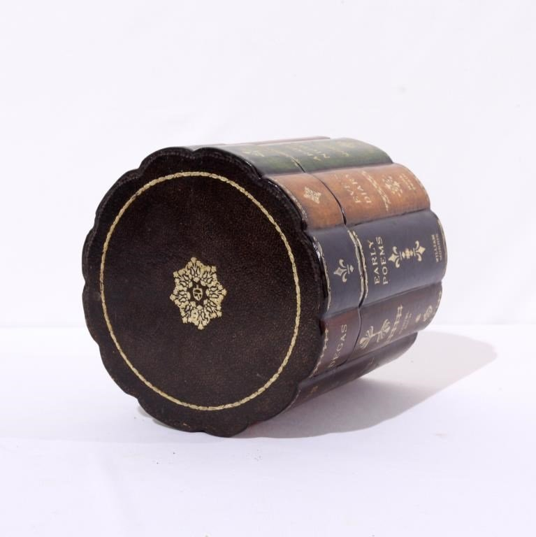 FAUX BOOK ROUND LEATHER BOX - 2