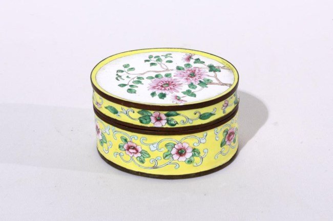 CHINESE CLOISONNE OVAL SHAPED BOX WITH COVER
