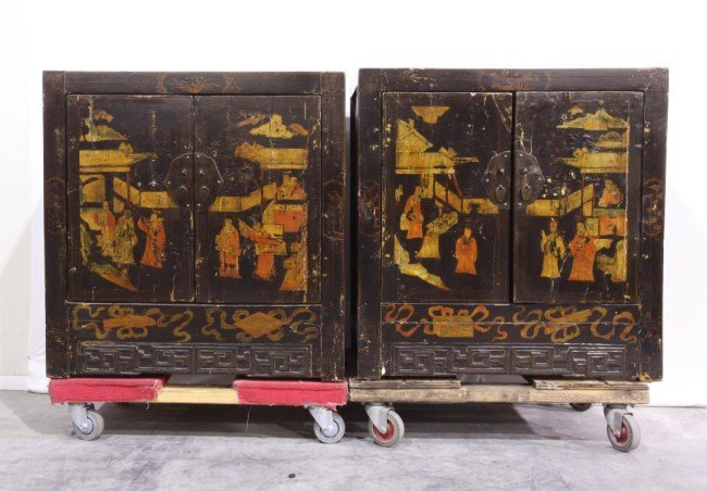 PAIR OF CHINESE BLACK LACQUERED CABINETS
