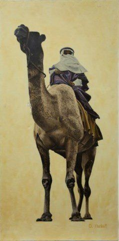 OIL ON CANVAS PAINTING OF A MAN RIDING A CAMEL