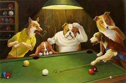OIL PAINTING ON CANVAS OF DOGS PLAYING POOL