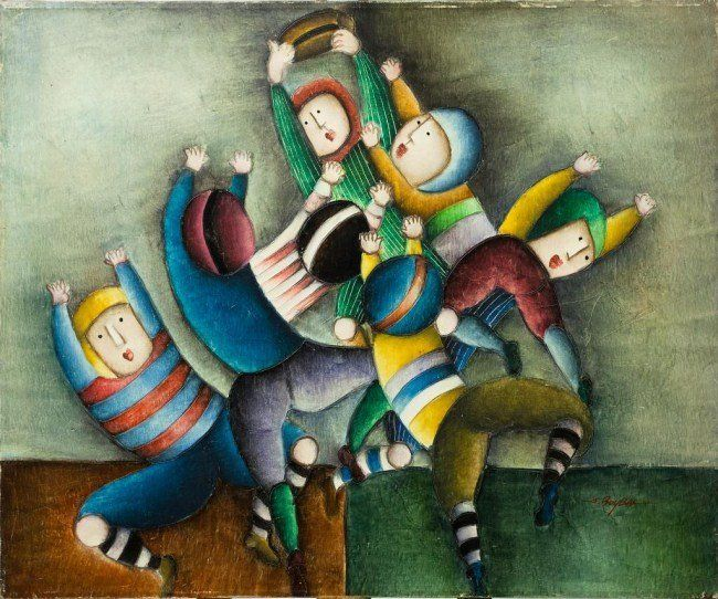 PAINTING OF CHILDREN PLAYING RUGBY