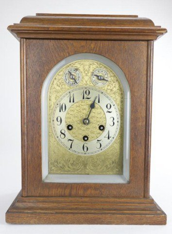 WOOD CLOCK WITH BRASS FACE