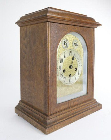 WOOD CLOCK WITH BRASS FACE - 2