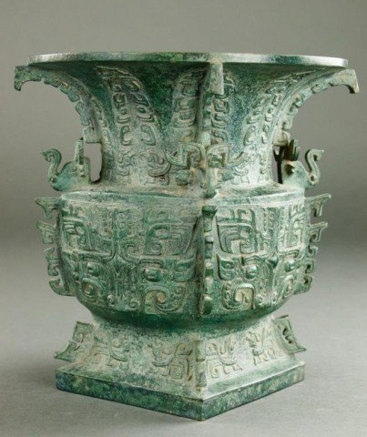 BRONZE ARCHAIC-STYLE GU VESSEL WITH SQUARE BASE