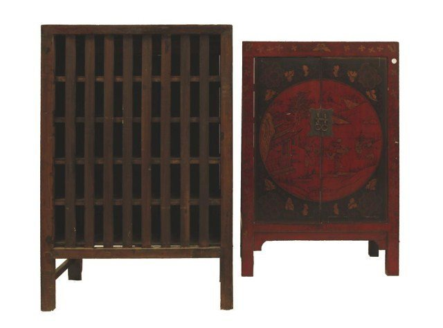 PAIR OF CHINESE TWO DOOR CABINETS - 3