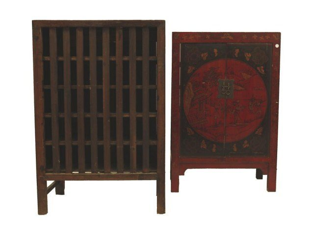 PAIR OF CHINESE TWO DOOR CABINETS - 4