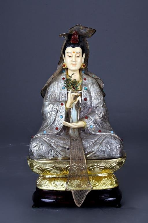 SILVER GUANYIN WITH WOODEN STAND