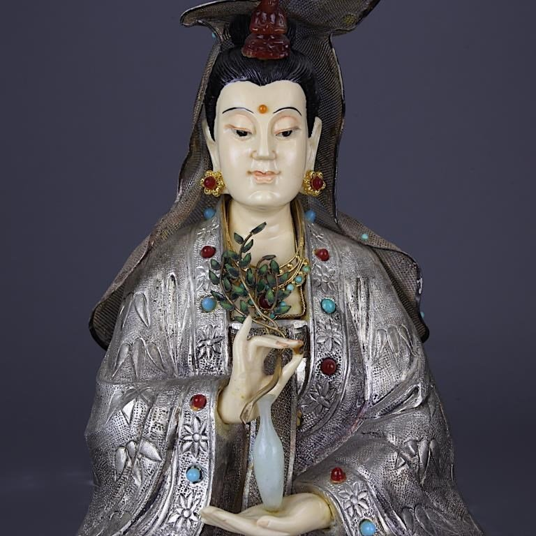 SILVER GUANYIN WITH WOODEN STAND - 2