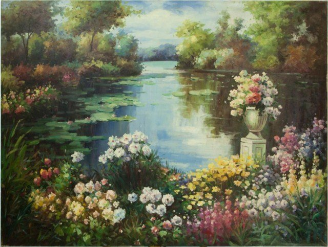 LARGE PAINTING OF A POND, OIL ON CANVAS