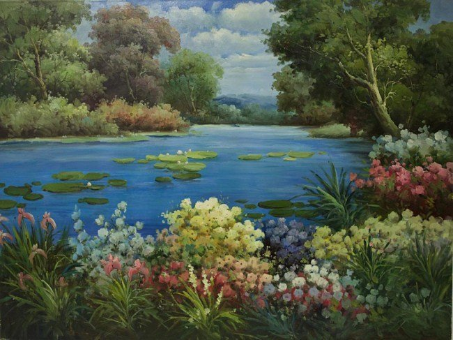 LARGE OIL PAINTING ON CANVAS OF WATER LILIES