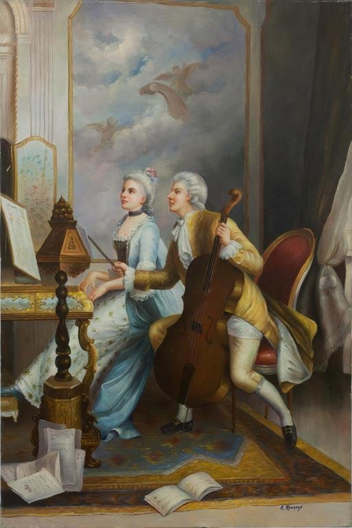 OIL ON CANVAS PAINTING OF A COUPLE