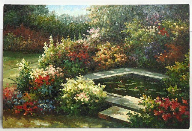 OIL ON CANVAS PAINTING OF GARDEN WITH SMALL POND