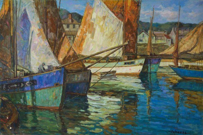 OIL PAINTING ON CANVAS OF SAILBOATS IN A HARBOR