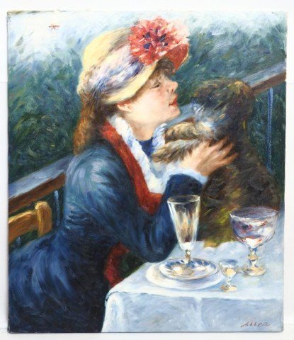 OIL ON CANVAS PAINTING OF RENOIR REPRODUCTION - 2