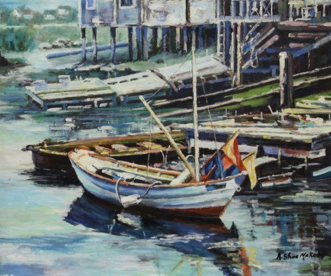 OIL PAINTING ON CANVAS OF BOATS