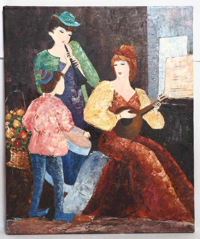 STREET MUSICIANS OIL ON CANVAS PAINTING - 2
