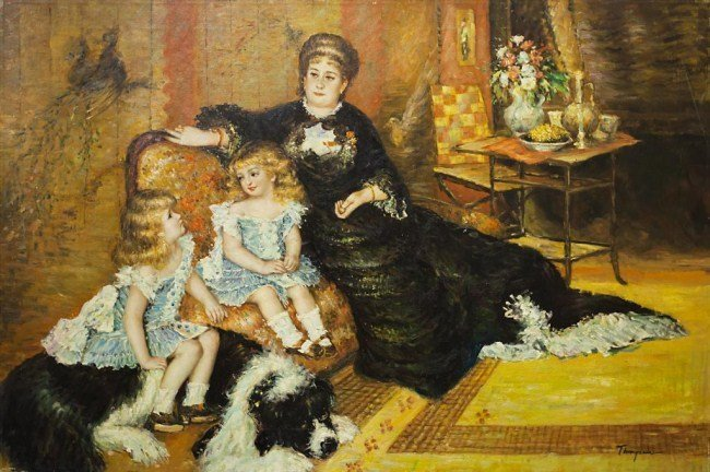 PAINTING OF A MOTHER AND CHILDREN ON CANVAS
