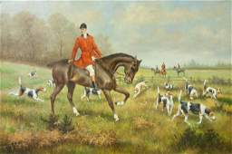 OIL ON CANVAS PAINTING OF A MAN RIDING HORSE