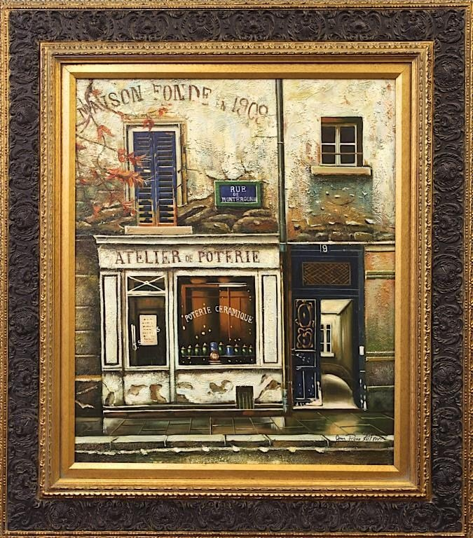 OIL ON CANVAS PAINTING OF A PARIAN SHOP