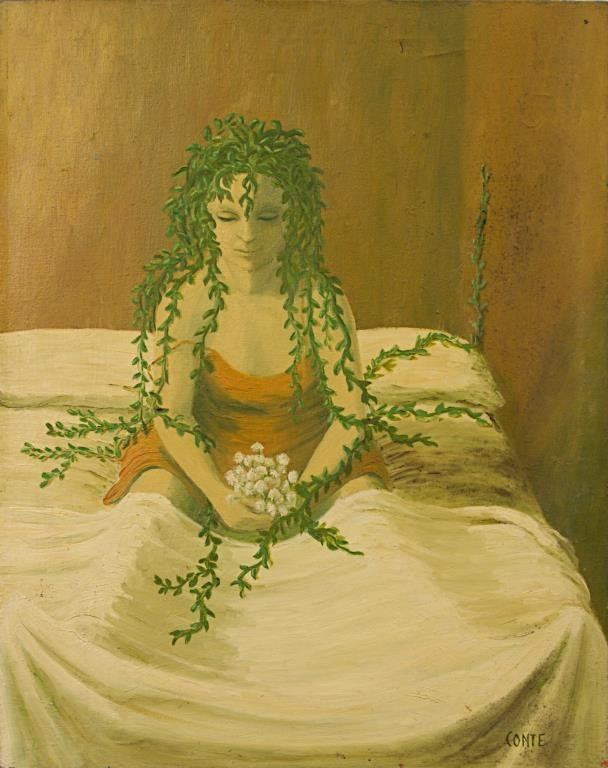 OIL ON CANVAS PAINTING OF A NYMPH WITH LEAFY HAIR