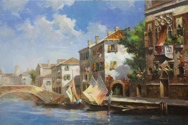 OIL ON CANVAS PAINTING OF BOATS