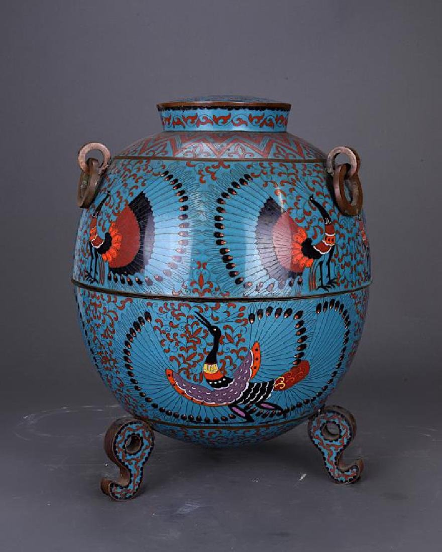 UNUSUAL LARGE CHINESE CLOISONNE CENSER
