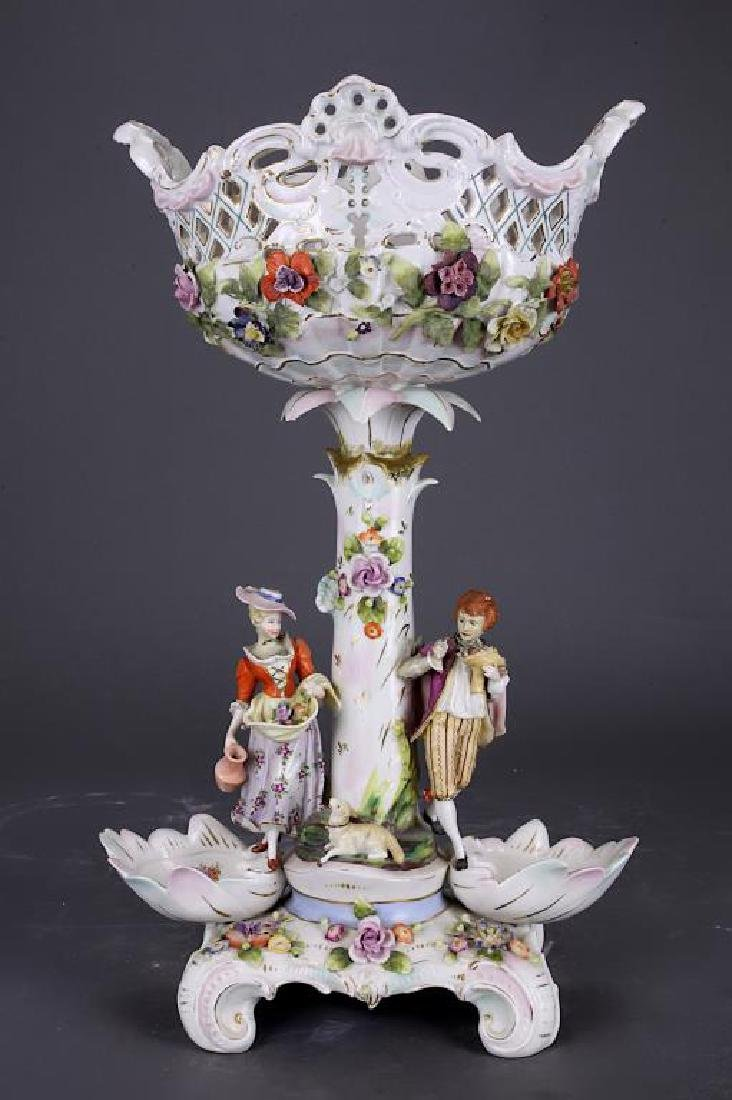 GERMAN PAINTED PORCELAIN COMPOTE