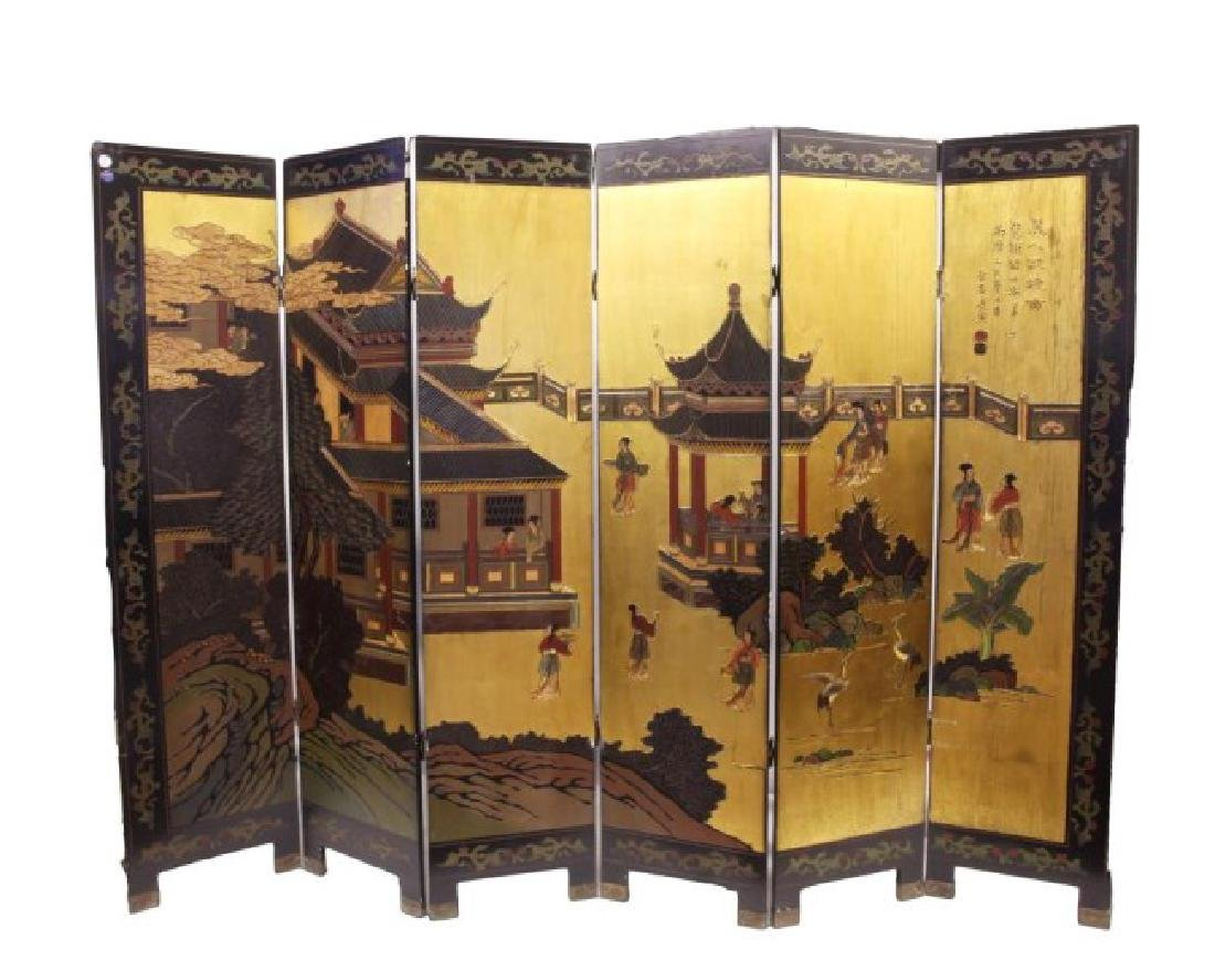 18TH CENTURY CHINESE SIX-PANEL FLOOR SCREEN