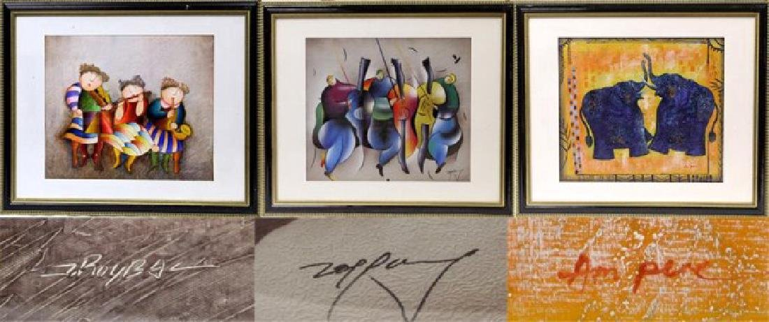 GROUP OF THREE ASSORTED FRAMED PAINTINGS