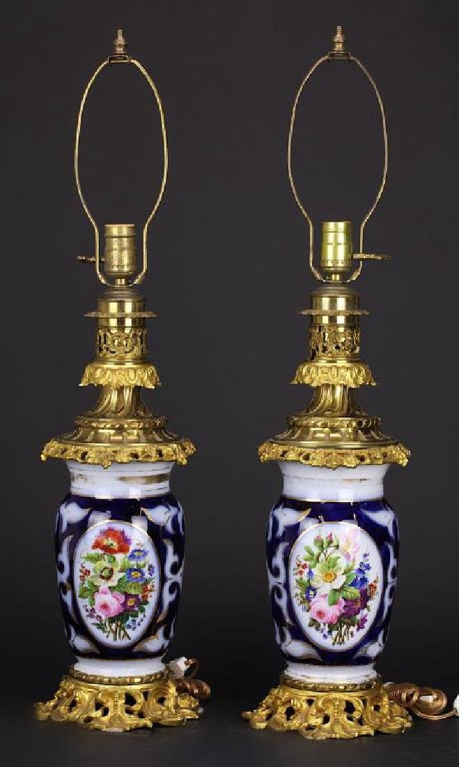 PAIR OF GILT BRONZE MOUNTED PARIS PORCELAIN VASES