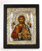 GREEK ORTHODOX SILVER  GOLD RUSSIAN SAINT ICON